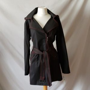 Michael Kors Zip Front Trench Coat with Hood